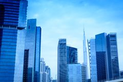 Business Bay Buildings with Burj Khalifa - Business Bay Dubai 12.03.2017 Tomasz Ganclerz Royalty Free Stock Photography