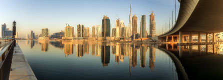 Business bay and downtown area of Dubai, UAE Stock Image