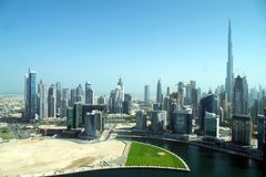 Business Bay in Dubai, a skyscraper forest. stock photo
