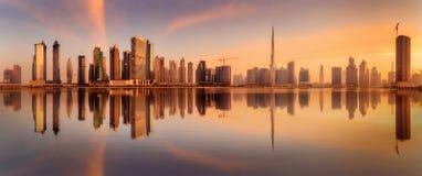 Business bay of Dubai, UAE. Panoramic view of Business bay Dubai, UAE Stock Photos