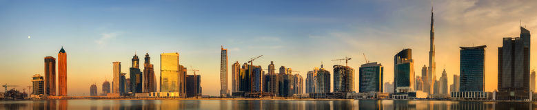 Business bay of Dubai, UAE. Panoramic view of Business bay of Dubai, UAE Royalty Free Stock Photos