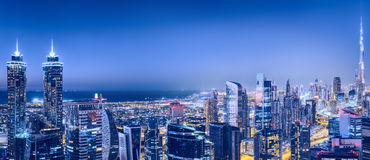 Business bay, Dubai, UAE. Spectacular nighttime skyline. Royalty Free Stock Photos