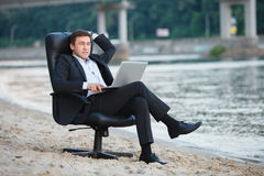Business on the beach Stock Photo