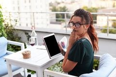 Business beautiful girl looking into the camera and on face emot Stock Photos
