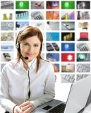 Business beautiful woman headphones tech helpdesk. Business redhead beautiful woman headset micro headphones tech helpdesk royalty free stock image