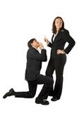 Business begging man to woman Stock Images