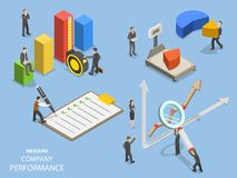 Business benchmarking flat isometric vector. Group of people are measuring company performance Royalty Free Stock Images