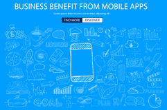 Business Benefit From Mobile concept with Doodle design style. Reaching more customers, promotions, creative designs. Modern style illustration for web banners Stock Photo