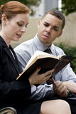 Business Bible Reading Park Stock Photos