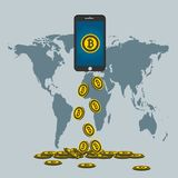 Business Bitcoin concept.Gold bitcoin drop from the phone screen on background map world. Illustrator. Business Bitcoin concept.Gold bitcoin drop from the phone Royalty Free Stock Image