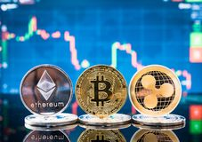 Business bitcoin, ethereum and XRP coins currency finance money. On graph chart background stock image