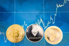 Business Bitcoin, ripple XRP and Ethereum coins currency finance. Money on graph chart background stock images