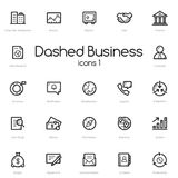 Business black line icons set Stock Photos
