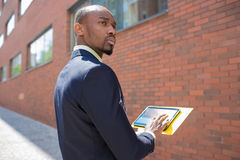The business black man with laptop Stock Photo