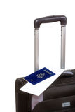 Business black suitcase with passport Royalty Free Stock Image