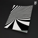 A4 business blank. Black and white abstract. Striped background. Optical Art. 3d vector illustration stock illustration