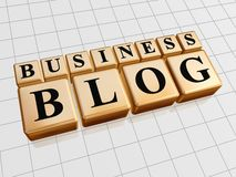 Business blog. Busines blog - golden cubes with black letters Royalty Free Stock Photography