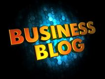 Business Blog - Gold 3D Words. Business Blog - Gold 3D Words on Dark Digital Background Stock Photography