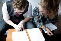 Business blonde hipster couple working Royalty Free Stock Photos