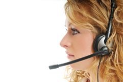 Business blonde woman with headset Royalty Free Stock Photo