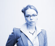 Business in blue. Businesswoman portrait in blue Stock Images
