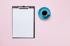 Business board and cup of coffee Stock Images