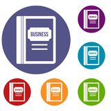 Business book icons set. In flat circle reb, blue and green color for web Royalty Free Stock Images