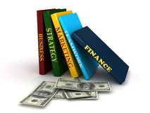 Business book with money. 3d rendered image Stock Images