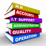 Business books. On various subjects, and departments on HR, accounts, it, administration, quality, and operations vector illustration