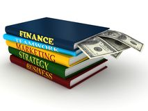 Business books with money. 3d rendered image Stock Photos