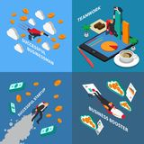 Business Booster 2x2 Design Concept. Set of business startup teamwork and successful businessman isometric square compositions vector illustration Royalty Free Stock Photography