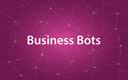 Business bots white tetx illustration with purple constellation map as background Stock Image