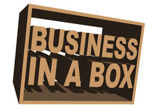 Business in a box. An illustration of  3D business in a box icon. Image isolated on white background Royalty Free Stock Images