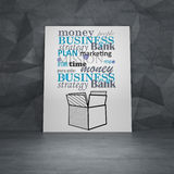 Business box. Poster in room with drawing business concept and box Stock Photos