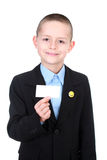 Business boy. Business kid presenting card on white background - kids stock photos