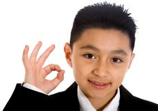 Business boy doing the ok sign Stock Photography
