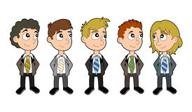 Business boys cartoon set Royalty Free Stock Photos