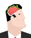 Business brain. Businessman thinks of money. Head of boss and pe Stock Photo