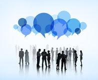Business brain storming with speech bubble stock images