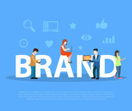 Business Brand promotion Flat people letters vecto Stock Images