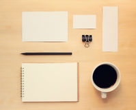 Business branding mock up set in workspace Royalty Free Stock Photos