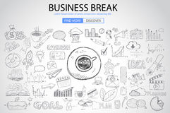 Business Break concept with Doodle design style. Finding solution, brainstorming, creative thinking. Modern style illustration for web banners, brochure and Royalty Free Stock Photo