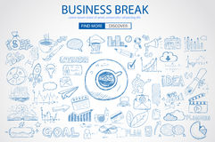 Business Break concept with Doodle design style :. Finding solution, brainstorming, creative thinking. Modern style illustration for web banners, brochure and Stock Photography