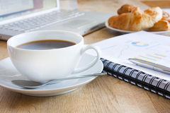 Business breakfast with coffee. Coffee, and breakfast pastries for a business breakfast stock image