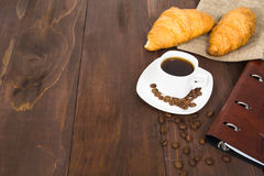 Business breakfast with coffee and croissants Stock Image