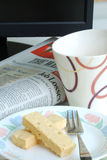 Business breakfast in the morning. Breakfast in the morning with newspaper Royalty Free Stock Photos