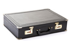 Business Briefcase. Closed Black Business Briefcase on White stock photo