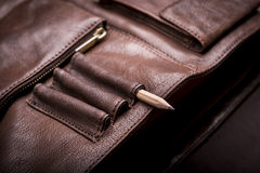 Business Briefcase Bag. A man's business briefcase bag, leather satchel with a pencil Stock Photography