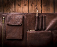 Business Briefcase Bag. A man's business briefcase bag, leather satchel with a pencil Stock Images