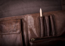 Business Briefcase Bag. A man's business briefcase bag, leather satchel with a pencil Stock Photos